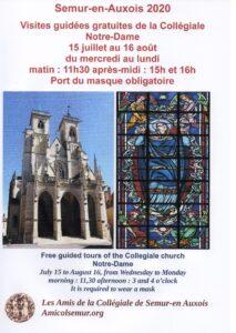 16 août. Visites guidées gratuites de la Collégiale de Semur-en-Auxois @ Collégiale Notre Dame de Semur-en-Auxois